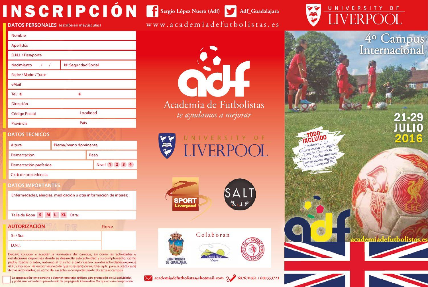 Desarrollo de la campaña publicitaria de los campus deportivos de la Academia de Futbolistas